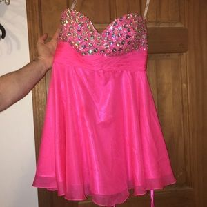 Strapless Pink beaded homecoming/prom dress